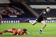Hull FC full back Jamie Shaul (1) makes a break which leads to a Hull FC try during the Betfred Super League match between Hull FC and Castleford Tigers at Kingston Communications Stadium, Hull, United Kingdom on 7 February 2019.