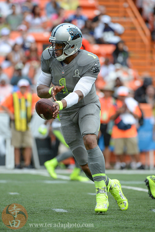 January 26, 2014; Honolulu, HI, USA; Team Sanders quarterback Cam Newton of the Carolina Panthers (1) hands the football off during the third quarter of the 2014 Pro Bowl at Aloha Stadium. Team Rice defeated Team Sanders 22-21.