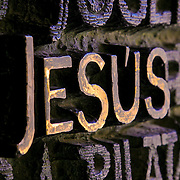 Jesus lettering pattern texture, Barcelona, Spain (December 2006)