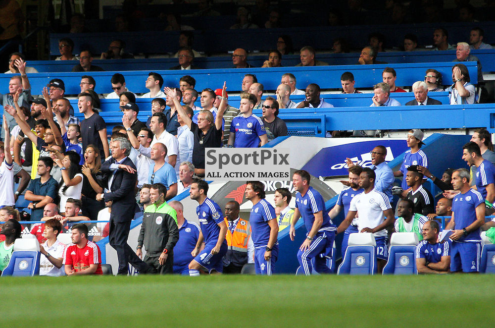 Jose Mourinho and the Chelsea bench react to a refereeing decision near the end of the game During Chelsea vs Swansea on the 8th August 2015.