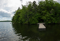 Approaching the dock at Moon Island on Squam Lake where visitors and campers are greeted with a quiet oasis on Big Squam.  (Karen Bobotas/for the Laconia Daily Sun)