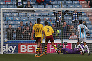 Huddersfield Town midfielder Joe Lolley (18) scores a goal  to make the score 1-2 during the Sky Bet Championship match between Huddersfield Town and Burnley at the John Smiths Stadium, Huddersfield, England on 12 March 2016. Photo by Simon Davies.