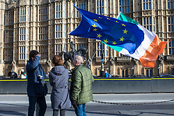© Licensed to London News Pictures. 07/02/2018. London, UK.  Anti-Brexit protesters wave EU and Irish flags opposite Parliament as Prime Minister Theresa May chairs a meeting of the Brexit War Cabinet. Photo credit: Rob Pinney/LNP
