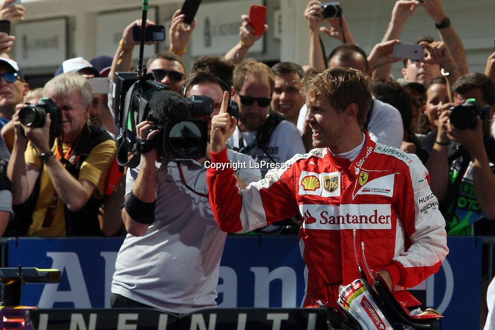 &copy; Photo4 / LaPresse<br /> 26/07/2015 Budapest, Hungary<br /> Sport <br /> Grand Prix Formula One Hungary 2015<br /> In the pic: race winner Sebastian Vettel (GER) Scuderia Ferrari SF15-T