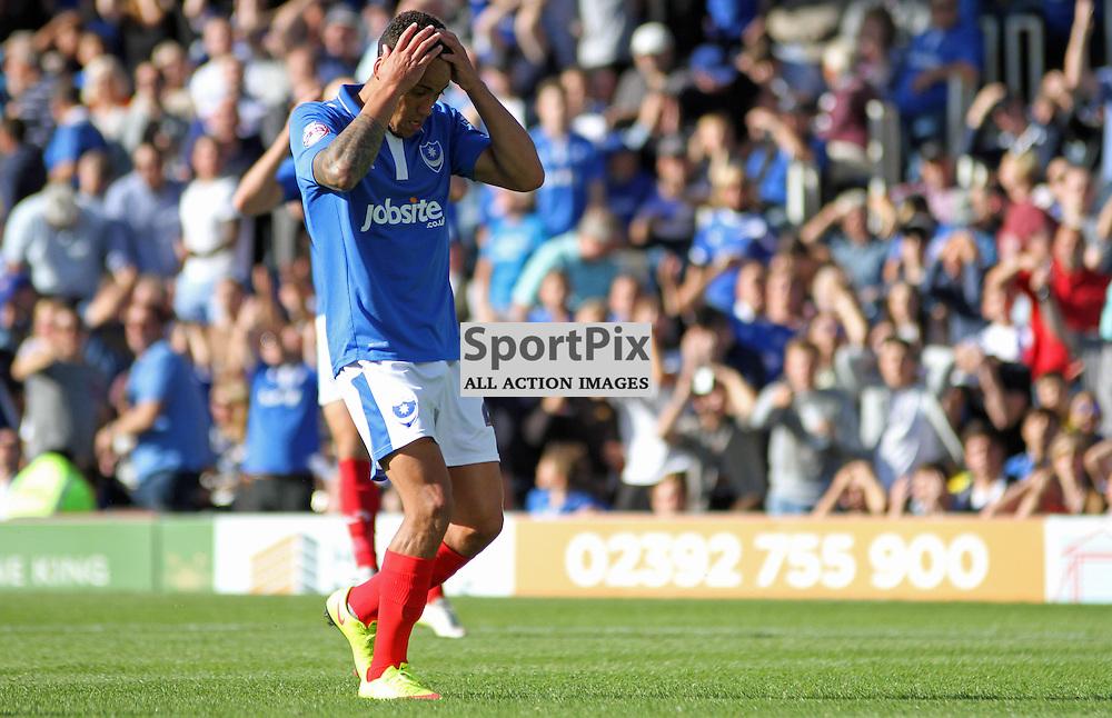 Kyle Bennett looks dejected During Portsmouth vs Barnet on Saturday 12th September 2015.