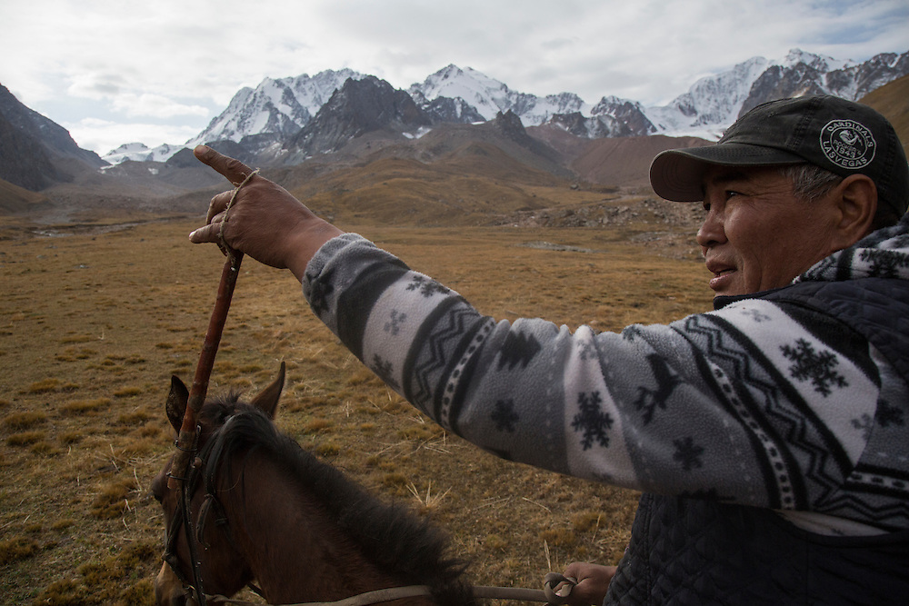 Nurdin Orozaliev rides towards the glaciers that lie at the base of Chok Tal. Climate change in Kyrgyzstan is affecting cross border water rights in the already ethnically divided Fergana Valley, all while glaciers melt in the Tian Shan Mountains. Tensions are rising as different groups compete for scarcer and scarcer resources.