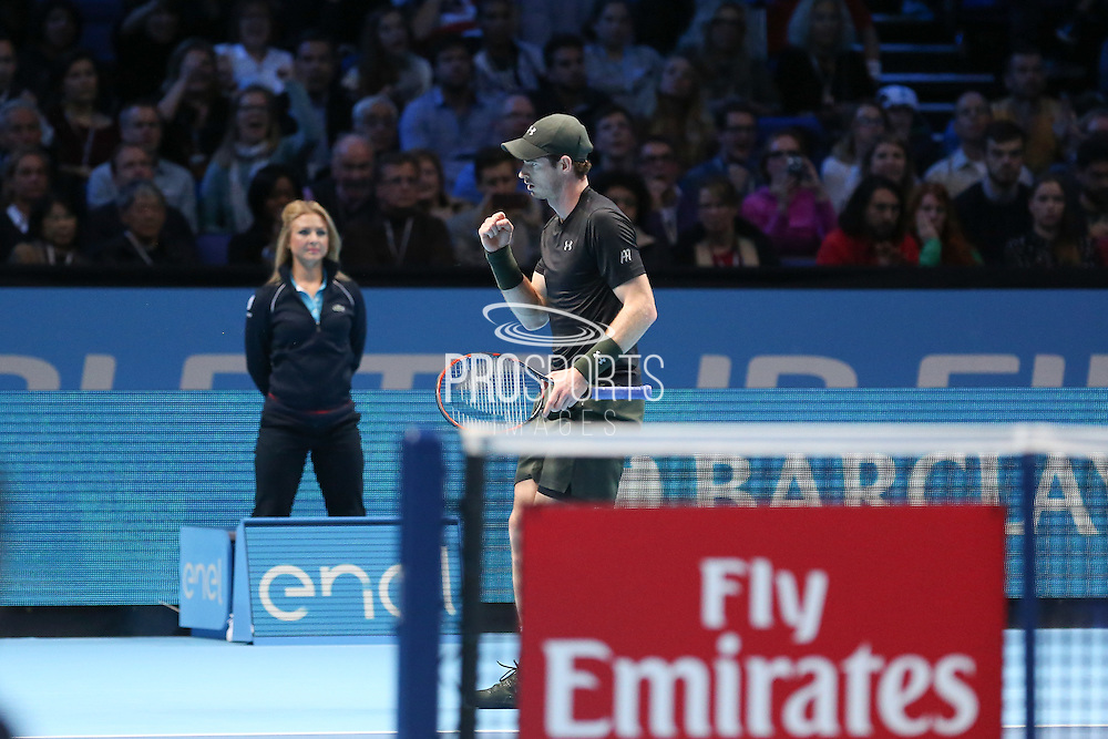 Andy Murray (Great Britain) celebrates winning the first set during the final of the Barclays ATP World Tour Finals at the O2 Arena, London, United Kingdom on 20 November 2016. Photo by Phil Duncan.