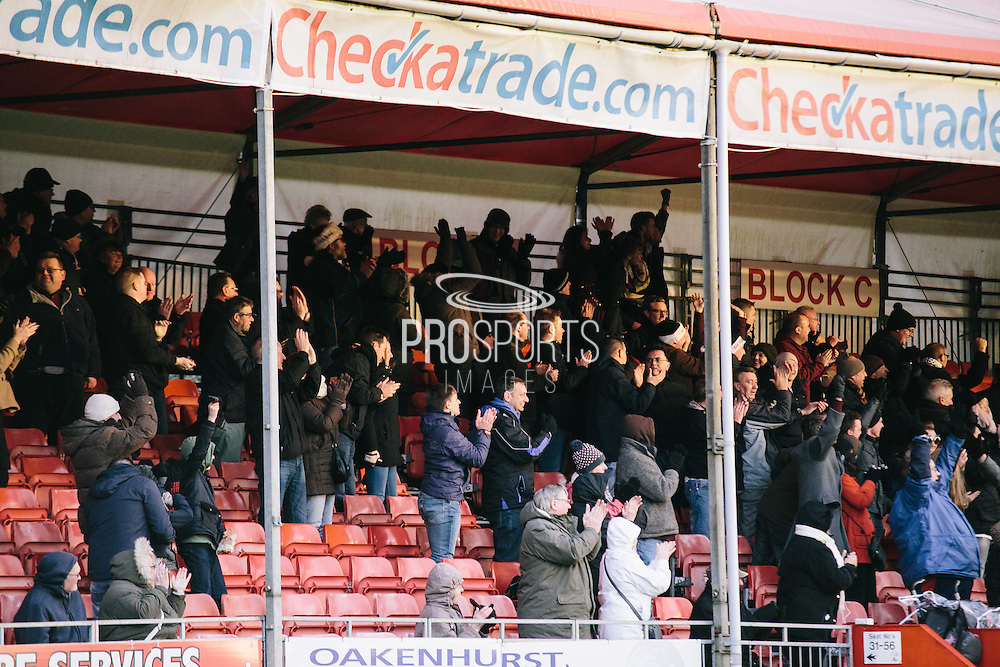 vale fans after first goal during the Sky Bet League 1 match between Crawley Town and Port Vale at Broadfield Stadium, Crawley, England on 20 December 2014. Photo by Sam Shaw.