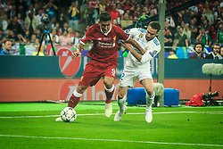 Roberto Firmino of Liverpool vs Dani Carvajal of Real Madrid during the UEFA Champions League final football match between Liverpool and Real Madrid at the Olympic Stadium in Kiev, Ukraine on May 26, 2018.Photo by Sandi Fiser / Sportida