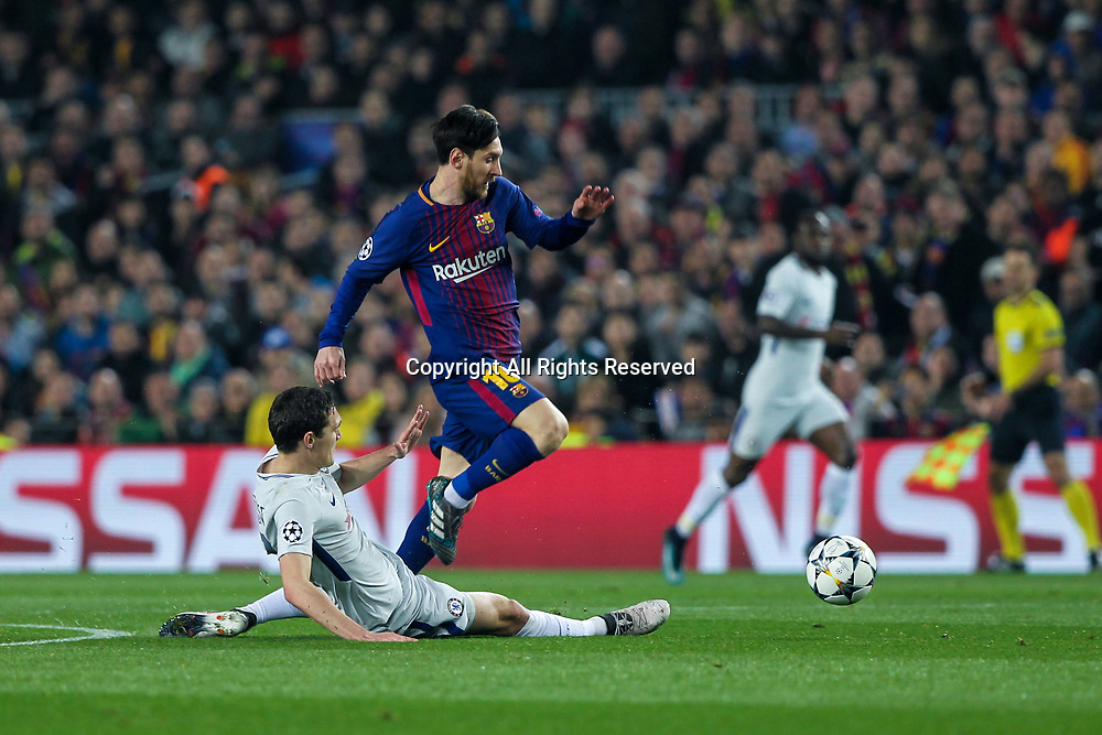 14th March 2018, Camp Nou, Barcelona, Spain; UEFA Champions League football, round of 16, 2nd leg, FC Barcelona versus Chelsea; Lionel Messi, #10 of Barcelona skips over the tackle from Andreas Christensen of Chelsea