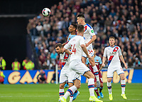 Football - 2019 / 2020 Premier League - West Ham United vs. Crystal Palace <br /> <br /> Martin Kelly (Crystal Palace) rises high a Crystal Palace crowd out the aerial threat of Sebastien Haller (West Ham United) at the London Stadium<br /> <br /> COLORSPORT/DANIEL BEARHAM