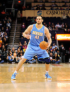 Dec. 22, 2011; Phoenix, AZ, USA; Denver Nuggets center Kosta Koufos (41) reacts on the court against the Phoenix Suns during a preseason game at the US Airways Center. Mandatory Credit: Jennifer Stewart-US PRESSWIRE.