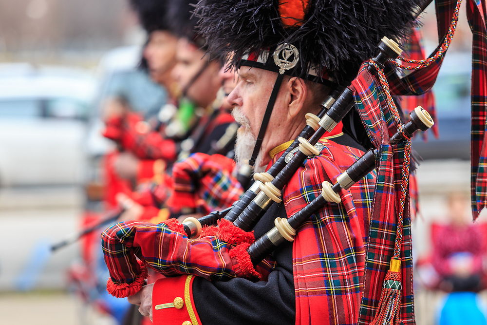 York, PA / USA - March 12, 2016:  Bagpipers with The Kiltie Band of York play and march in the annual Saint Patrick's Day Parade