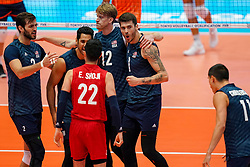 11-08-2019 NED: FIVB Tokyo Volleyball Qualification 2019 / Netherlands - USA, Rotterdam<br /> Final match pool B in hall Ahoy between Netherlands vs. United States (1-3) and Olympic ticket  for USA / Matthew Anderson #1 of USA, Maxwell Holt #12 of USA, Aaron Russell #2 of USA