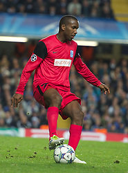 LONDON, ENGLAND - Wednesday, October 19, 2011: Racing Genk's Abel Masuero in action during the UEFA Champions League Group E match at Stamford Bridge. (Photo by Chris Brunskill/Propaganda)