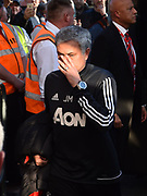 Manchester United manager Jose Mourinho arriving at the Vitality Stadium before the Premier League match between Bournemouth and Manchester United at the Vitality Stadium, Bournemouth, England on 18 April 2018. Picture by Graham Hunt.