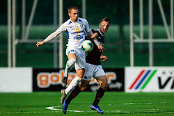 Žan Zaletel of Celje vs Tom Žurga of Triglav during football match between NK Triglav and NK Celje in 7th Round of Prva liga Telekom Slovenije 2019/20, on August 25, 2019 in Sports park, Kranj, Slovenia. Photo by Vid Ponikvar / Sportida