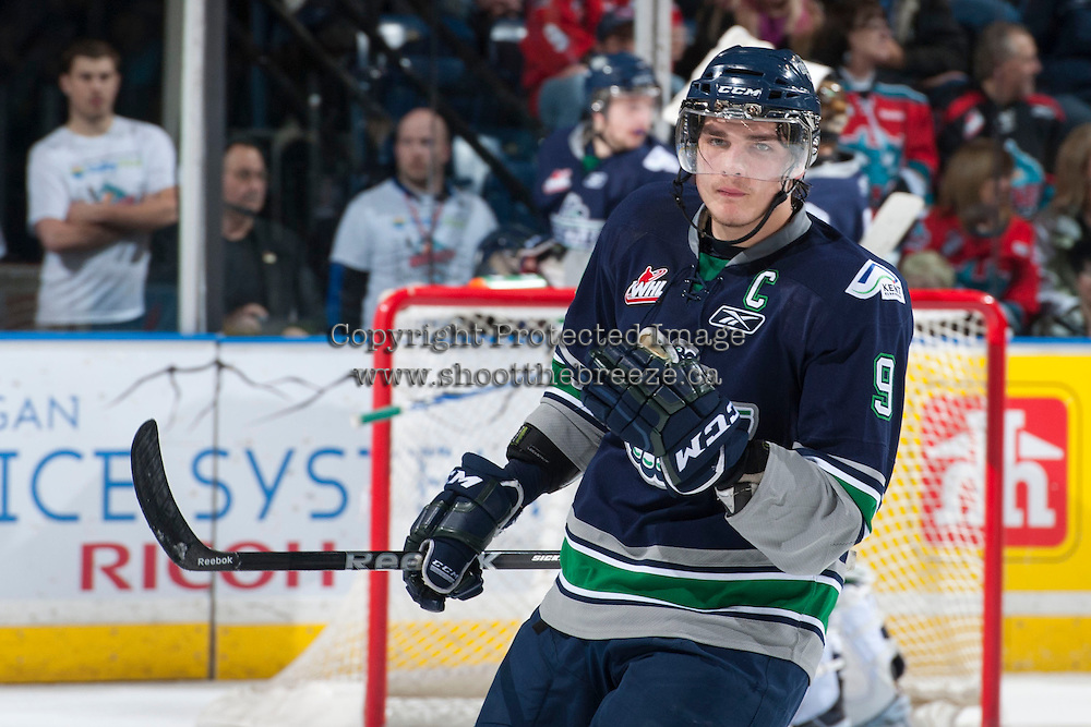 KELOWNA, CANADA - APRIL 5: Justin Hickman #9 of the Seattle Thunderbirds skates against the Kelowna Rockets on April 5, 2014 during Game 2 of the second round of WHL Playoffs at Prospera Place in Kelowna, British Columbia, Canada.   (Photo by Marissa Baecker/Getty Images)  *** Local Caption *** Justin Hickman;