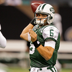 2009 October 04: New York Jets rookie quarterback Mark Sanchez (6) in warm ups prior to kickoff of a 24-10 win by the New Orleans Saints over the New York Jets at the Louisiana Superdome in New Orleans, Louisiana.