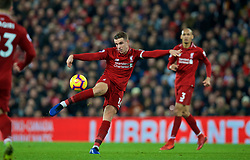 LIVERPOOL, ENGLAND - Saturday, December 29, 2018: Liverpool's captain Jordan Henderson blasts his shot high over the bar during the FA Premier League match between Liverpool FC and Arsenal FC at Anfield. (Pic by David Rawcliffe/Propaganda)
