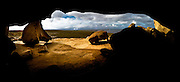 Remarkable Rocks panoramic, shot from within a small cave, Kangroo Island, Australia