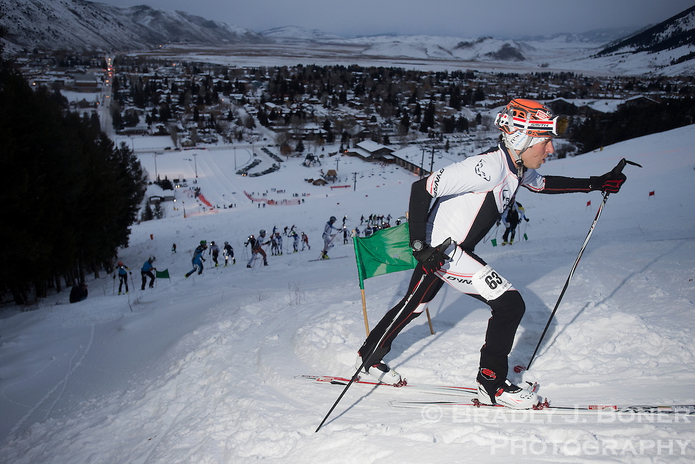 J. Marshall Thompson rounds a switchback in the skin track of the Snow King Sprint stage of the Wyoming Randonee Roundup on Saturday evening. Thompson finished sixth in the three-lap race with a time of 20:08.