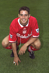 BERLIN, GERMANY - Sunday, August 7, 1994: Liverpool's Jamie Redknapp poses for a photograph before a preseason friendly between Hertha BSC Berlin and Liverpool FC at the Olympiastadion. Liverpool won 3-0. (Pic by David Rawcliffe/Propaganda)