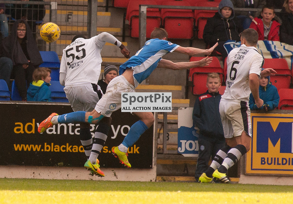 #55 Kevin Gomis (Dundee) fouls #9 Steven MacLean (St Johnstone) and concedes a penalty kick - St Johnstone v Dundee - Ladbrokes Premiership - 23 October 2016 - © Russel Hutcheson | SportPix.org.uk