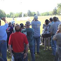 (Floyd Ingram / Buy at photos.chickasawjournal.com)<br /> The crowd plugged their ears and videoed the Charles Van Horn memorial anvil shoot Saturday April 23, 2016 in Joe Brigance Park.