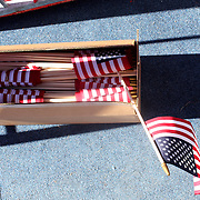Ryder Cup 2016. Day Three. Flags available for spectators on the steps of a viewing gallery on the fourteenth during the Sunday singles competition at  the Ryder Cup tournament at Hazeltine National Golf Club on October 02, 2016 in Chaska, Minnesota.  (Photo by Tim Clayton/Corbis via Getty Images)