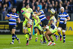 Josh Beaumont (capt) of Sale Sharks is tackled by Zach Mercer of Bath Rugby - Rogan Thomson/JMP - 07/10/2016 - RUGBY UNION - The Recreation Ground - Bath, England - Bath Rugby v Sale Sharks - Aviva Premiership.