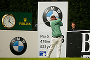 English golf professional Andy Sullivan  tees off during the BMW PGA Championship Celebrity Pro-Am Day at the Wentworth Club, Virginia Water, United Kingdom on 25 May 2016. Photo by Simon Davies.