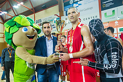 Dragisa Drobnjak of KK Tajfun Sentjur after winning supercup basketball match between KK Krka Novo mesto and KK Tajfun Sentjur at Superpokal 2015, on September 26, 2015 in SKofja Loka, Poden Sports hall, Slovenia. Photo by Grega Valancic / Sportida.com