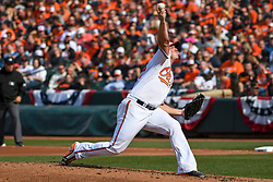 March 29, 2018 - Baltimore, MD, U.S. - BALTIMORE, MD - MARCH 29: Baltimore Orioles starting pitcher Dylan Bundy (37) pitches in the fourth inning during the Opening Day game between the Minnesota Twins and the Baltimore Orioles on March 29, 2018, at Orioles Park at Camden Yards in Baltimore, MD.  The Baltimore Orioles defeated the Minnesota Twins, 3-2 in eleven innings.  (Photo by Mark Goldman/Icon Sportswire) (Credit Image: © Mark Goldman/Icon SMI via ZUMA Press)