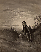 Richard (Dick) Whittington (c1358-1423) English merchant and philanthropist who was three times Lord Mayor of London, England. Dick as a boy at Highgate, hearing the bells of the city saying 'Turn again Whittington, Lord Mayor of London'. Illustration by Gustave Dore (1821-1883). Wood engraving.