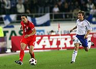 12.09.2007, Olympic Stadium, Helsinki, Finland..UEFA European Championship 2008.Group A Qualifying Match Finland v Poland.Dariusz Dudka (Poland) vJoonas Kolkka (Finland).©Juha Tamminen.....ARK:k