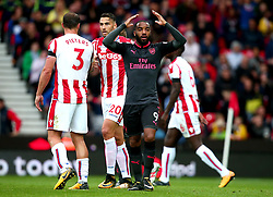 Alexandre Lacazette of Arsenal cuts a frustrated figure after seeing a goal disallowed - Mandatory by-line: Robbie Stephenson/JMP - 19/08/2017 - FOOTBALL - Bet365 Stadium - Stoke-on-Trent, England - Stoke City v Arsenal - Premier League