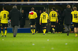 06.12.2011, Signal Iduna Park, Dortmund, GER, UEFA Champions League, Gruppe F, Vorrunde, Borussia Dortmund (GER) vs Olympique Marseille (FRA), im Bild Antonio da Silva (#8 Dortmund), Lukasz Piszczek (#26 Dortmund), Ilkay Guendogan (#21 Dortmund), Ivan Perisic (#44 Dortmund), Jürgen/ Juergen Klopp (Trainer Dortmund), Kuba (#16 Dortmund) verlassen nach der Niederlage das Stadion // during match of UEFA Champions League, Pool F, Borussia Dortmund (GER) vs. Olympique Marseille (FRA) at Signal Iduna Park, Dortmund, GER, 2011/12/06. EXPA Pictures © 2011, PhotoCredit: EXPA/ nph/ Kurth..***** ATTENTION - OUT OF GER, CRO *****