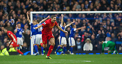 28.10.2012, Goodison Park, Liverpool, ENG, Premier League, FC Everton vs FC Liverpool, 9. Runde, im Bild Liverpool's captain Steven Gerrard celebrates the third goal, but it was disallowed, against Everton during the English Premier League 9th round match between Everton FC and Liverpool FC at the Goodison Park, Liverpool, Great Britain on 2012/10/28. EXPA Pictures © 2012, PhotoCredit: EXPA/ Propagandaphoto/ David Rawcliffe..***** ATTENTION - OUT OF ENG, GBR, UK *****