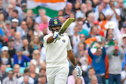 50 for Hanuma Vihari of India - Hanuma Vihari of India celebrates scoring a half century during day 3 of the 5th test match of the International Test Match 2018 match between England and India at the Oval, London, United Kingdom on 9 September 2018.