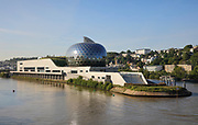 La Seine Musicale, a music and performing arts centre, opened April 2017, on the Ile Seguin in the river Seine, between Boulogne-Billancourt and Sevres, in the Western suburbs of Paris, France. Jean Nouvel was the lead architect from 2009 and the main buildings were designed by Shigeru Ban and Jean de Gastines. The complex includes La Grande Seine, a large concert hall seating 6000 with a rotating solar panel fin, an auditorium for unamplified classical music, event or exhibition spaces and the Bellini Gardens. Picture by Manuel Cohen