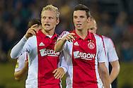 BREDA, NAC Breda - Ajax, voetbal Eredivisie seizoen 2014-2015, 27-09-2014, Rat Verlegh Stadion, Ajax speler Nick Viergever (R) en Ajax speler Nicolai Boilesen (L) zijn blij met de overwinning.
