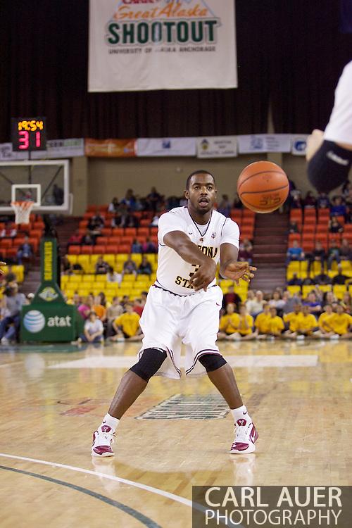 November 27th, 2010:  Anchorage, Alaska - Sun Devil senior guard Ty Abbott (3) passes the ball in Arizona State's 58-67 loss to St. John's in the championship game of the Great Alaska Shootout.