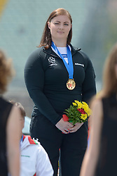 14 / 06 / 2016, Orla Barry (Ladysbridge, Co. Cork), Leevale Athletic Club, pictured on the podium with her gold medal, F57 class discus, at the 2016 IPC Athletics European Championships in Grosseto, Italy.