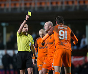 10th April 2018, Tannadice Park, Dundee, Scotland; Scottish Championship football, Dundee United versus St Mirren; referee Andrew Dallas yellow cards Bilel Mohsni of Dundee United