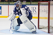 Jonathan Bernier plays during a game against the Rochester Americans in Rochester, New York, USA on Friday, December 4, 2015.