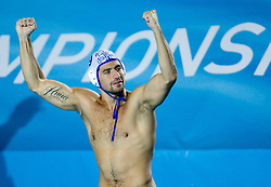 Nikola Radjen of Serbia celebrates after the Men's  Waterpolo Final match between National teams of Serbia and Spain during the 13th FINA World Championships Roma 2009, on August 1, 2009, at the Stadio del Nuoto,  in Foro Italico, Rome, Italy. Serbia won after penalties shootout 14:13.  (Photo by Vid Ponikvar / Sportida)