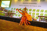 A Balinese dancer performs during dinner at the General Assembly of the Tropical Forest Alliance 2020 in Jakarta, Indonesia, on March 10, 2016. <br /> (Photo: Rodrigo Ordonez)