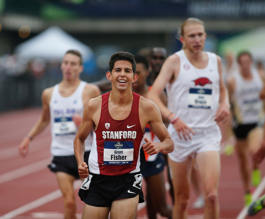 Stanford's Grant Fisher smiles after winning the men's 5000 meters in 14  minutes, 35.60 seconds on the third day of the NCAA outdoor college track and field championships in Eugene, Ore., Friday, June 9, 2017. (AP Photo/Timothy J. Gonzalez)