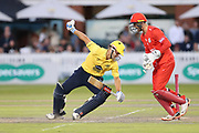 Colin De Grandhomme of the Birmingham Bears stumped by Lancashires Dane Vilas (Captain & Wicket Keeper) during the Vitality T20 Blast North Group match between Lancashire Lightning and Birmingham Bears at the Emirates, Old Trafford, Manchester, United Kingdom on 10 August 2018.